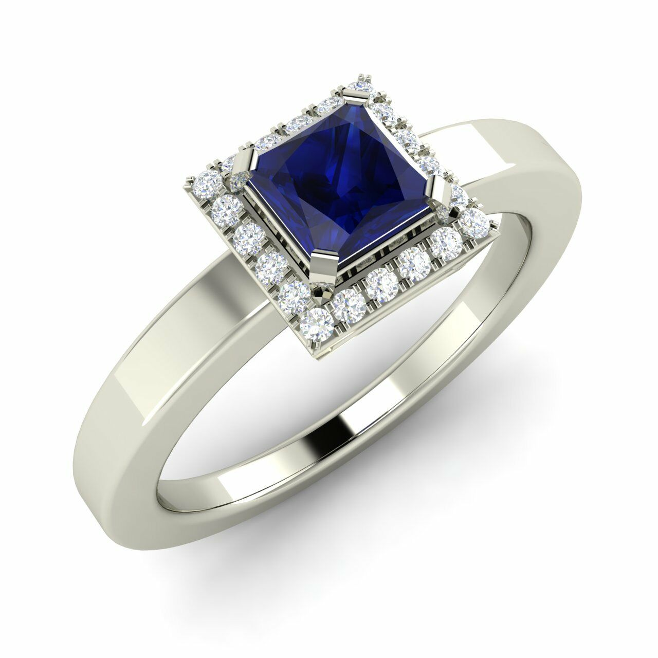 Certified 0.87 Ct Princess Cut Sapphire & Diamond 14K White gold Engagement Ring