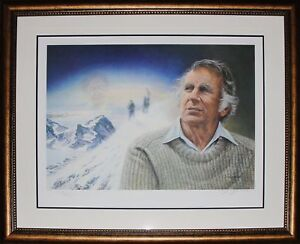 Hillary Conquers Everest Ltd Ed /1953 Lithograph Print Signed Ed Hillary Frame