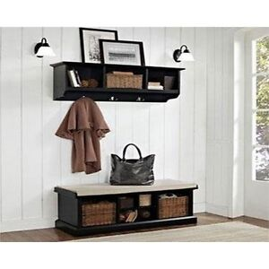 Brilliant Details About Crosley Furniture Brennan Black Two Piece Entryway Bench And Shelf Set Cjindustries Chair Design For Home Cjindustriesco