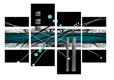 """DUCK EGG BLUE BLACK ABSTRACT CANVAS WALL ART PICTURE MULTI 4 PANEL 40/"""" X 28/"""""""