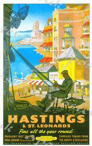 Vintage British Rail Hastings and St Leonards Railway Poster A4//A3//A2//A1 Print