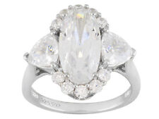 STERLING SILVER DIAMOND SIMULANT OVAL TRILLION ENGAGEMENT RING 9.34 TCW SIZE 5