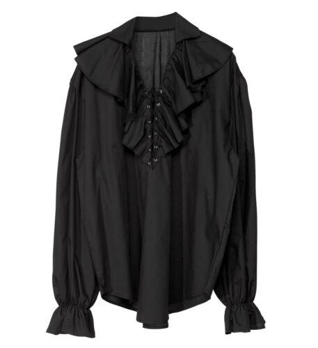 Rüschenhemd Piraten Herren Hemd Schwarz Mittelalter Renaissance Seeräuber, K