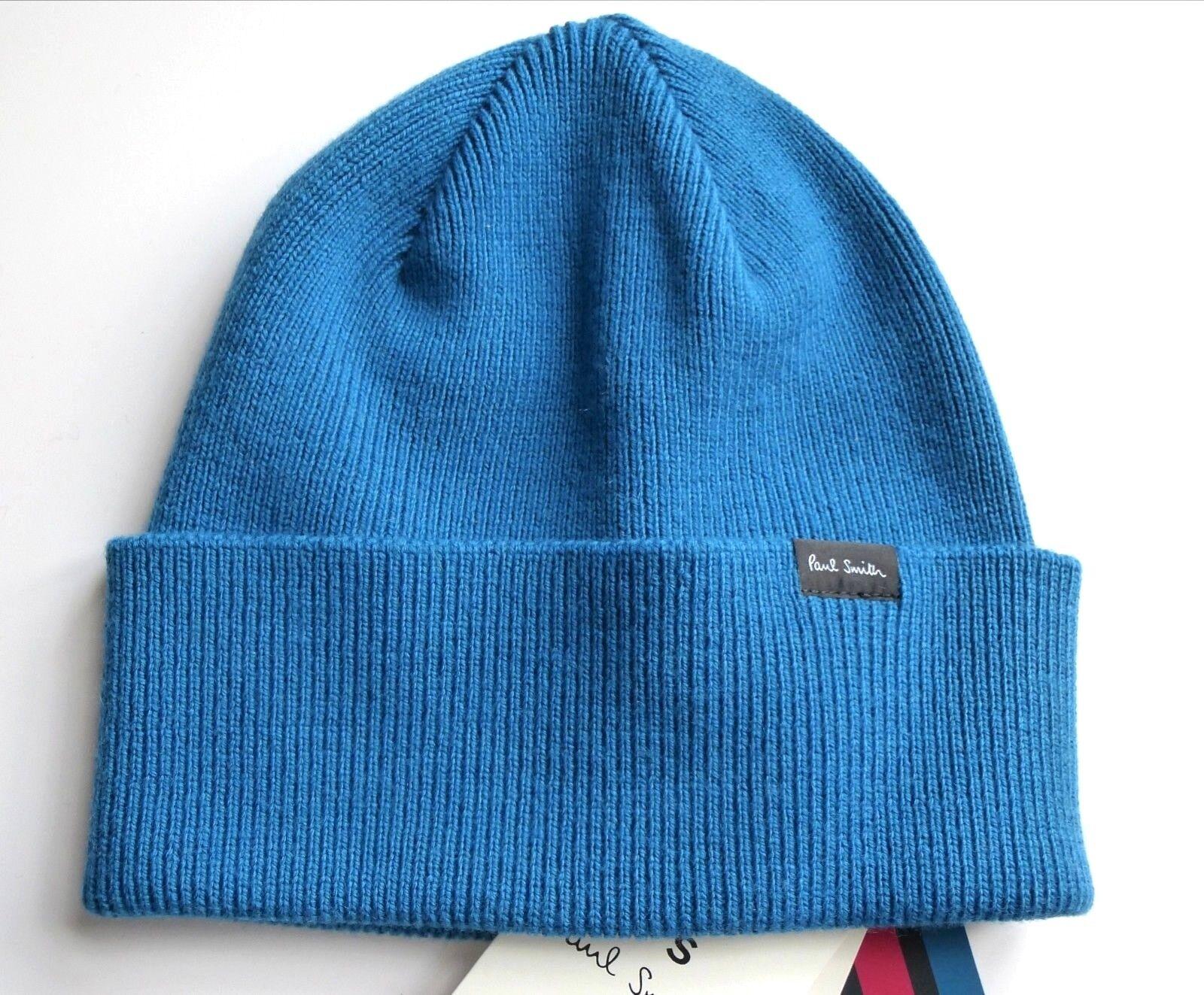 PAUL SMITH Petrol bluee 100% Merino Wool Beanie Hat Toque MADE IN SCOTLAND Tags