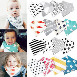 4Pcs Infant Kids Baby Burp Feeding Saliva Towel Dribble Triangle Bandana Bibs