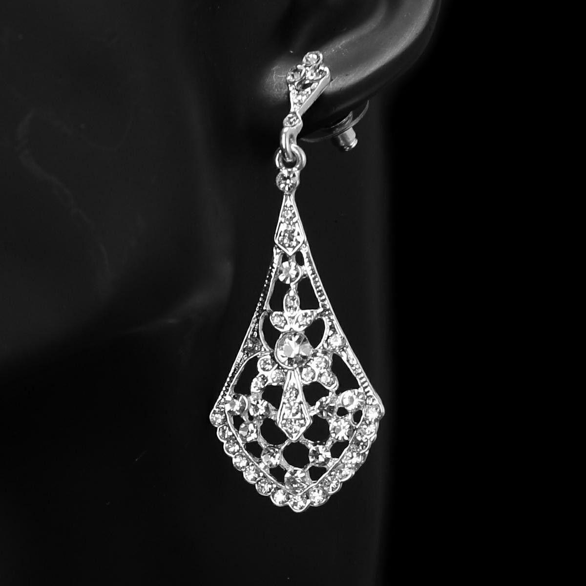 Swarovski Rhinestone Element Silver Tear Drop With Floral Design Bridal Earrings