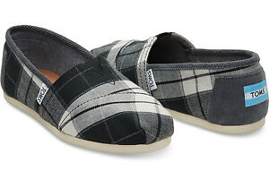 8fbff8cc292 TOMS Black and White Plaid Woven Vegan Women s Classics Shoes. Style ...