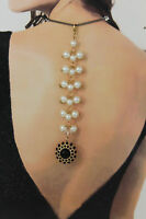 Women Back Pendant Necklace Gold Metal Chain Fashion Jewelry Pearl Bead Big Ball