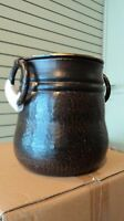 Pottery Barn Rogan Metal Handled Vase Small Blackened Bronze Finish Hammered