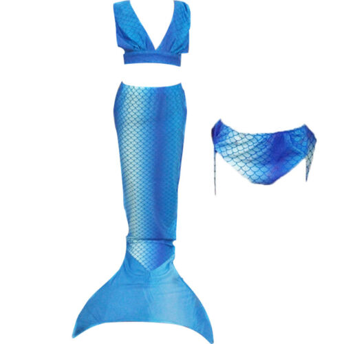 Girls 3pcs Bikini Mermaid Tail for Swimming Mono fin Flippers Swimmable wear HOT