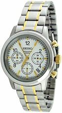 $250.00 Seiko Men's Watch SSB009 Hardlex Crystal Chronograph Two Tone White Dial