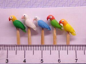 1-12-Hand-Made-5-Small-Bird-On-A-Stick-Dolls-House-Miniature-Nursery