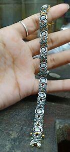 Sterling-Silver-Uncut-Diamond-amp-Rose-Cut-Diamond-Jewelry-Bracelets-Parents-Day