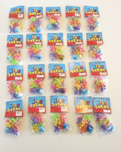 20 SETS OF NEW LARGE SIZE NEON JACKS AND RUBBER BOUNCE BALL GAME CLASSIC KID TOY