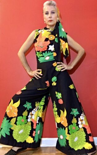 Vintage 60s/70s Playsuit,Pantsuit, Bell Bottoms ,