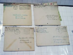 LOT 4x WW2 wwii letter cards home Macon ARMY POSTAL CANCELLATIONS George F Koch