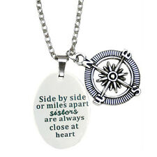 Creative Side By Side Or Miles Apart Art Quote Chic Fashion Necklace Jewelry