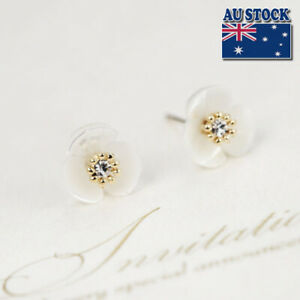 New-925-Sterling-Silver-White-Mother-of-Pearl-Crystal-12MM-Flower-Stud-Earrings
