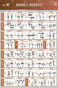 barbell workout exercise poster bodybuilding guide fitness