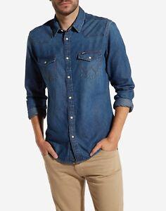 Western mid Indigo Wrangler Shirt Denim Pxwn6qC