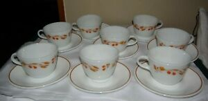 Harvest Home Wheat Berries 8 Pyrex coffee Cups & 8 Corelle Saucers lot 16 pieces
