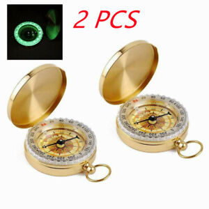 2 Pocket Brass Watch Style Military Army Compass Outdoor Camping Hiking Keychain