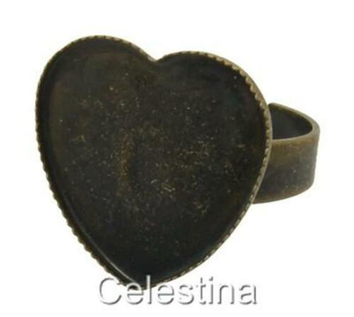 17 mm CAP//pad 6 x Antique Bronze Coeur Réglable RING bases Blanks cadres