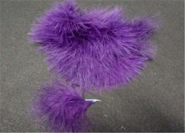 PURPLE  BLOOD QUILL TURKEY MARABOU FEATHERS EX QUALITY