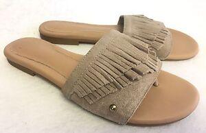 e2458a18633e Ugg Australia Binx Flat Slide Fringe Suede 1015055 sizes Sand Beige ...