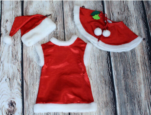 BABY Girl poco santa ABITO CAPPELLO NATALE RED Fancy Outfit Costume 6 m 5 Y