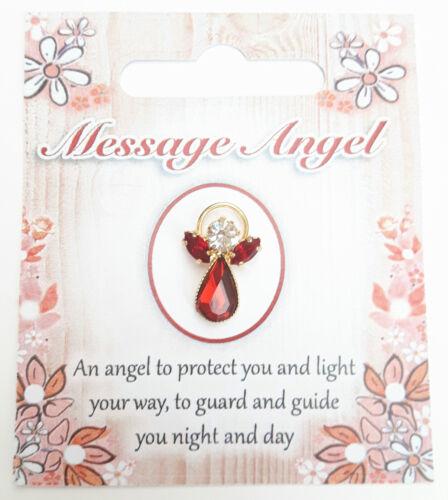 Mensaje Angel Piedra Cristal granate insignia pin