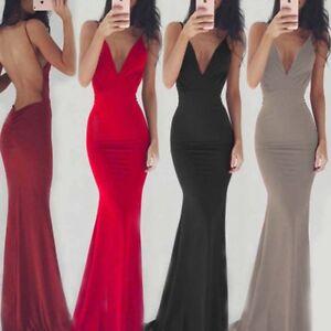 Para mujeres espaguetis Escote en V sin espalda Largo Lápiz Vestido Baile de graduación Fiesta Dama de honor