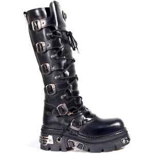 New Rock M.272-S1 METALLIC BLACK GOTH KNEE HIGH ZIP LEATHER BUCKLE BOOTS