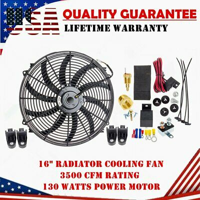American Volt Single 16 Inch Electric Fan 12v Automotive Radiator Cooling 120w Motor 2500 Cfm