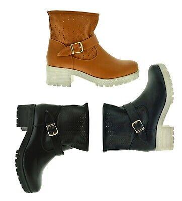 Tronchetti primaverili stivaletti traforati scarpe da donna stivali con fibbie | eBay