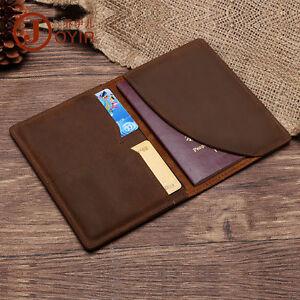 Men Genuine Vintage Leather Passport Wallet Slim Retro Boarding Card Holder
