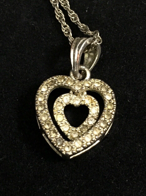 Vintage Judith Ripka Sterling Silver 925 Double Heart Pendant Retired Necklace JR1122