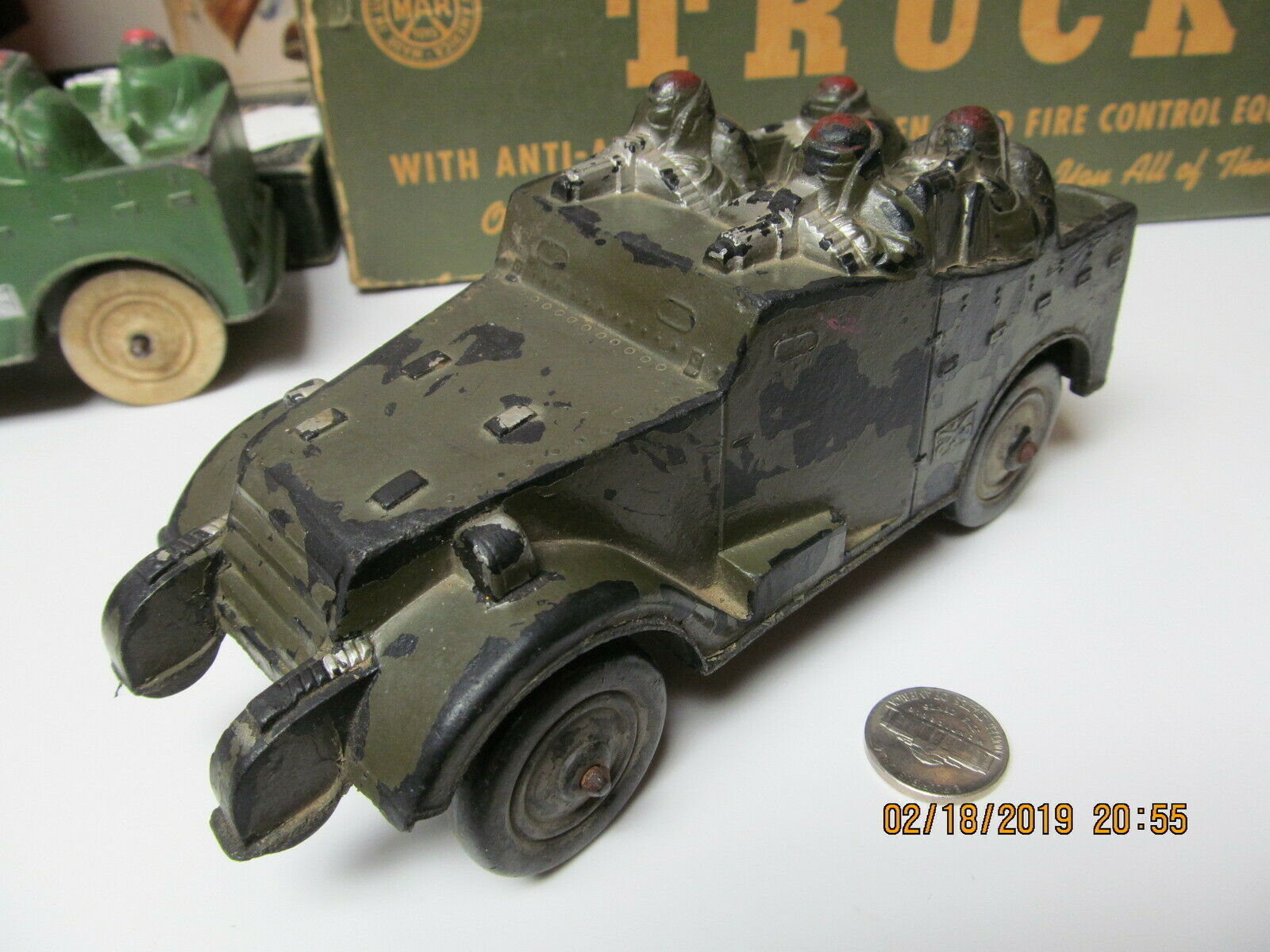 SUN RUBBER US ARMY MILITARY M3 SCOUT ARMGoldt CAR 40'S EARLIER CAMOUFLAGED CAR