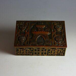Vintage-Bronze-Jewelry-Dresser-Box-Casket-Marked-1147-1947