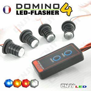 kit domino flasher 4 led 1w ampoule flash clignote strobo stroboscopique 12v ebay. Black Bedroom Furniture Sets. Home Design Ideas