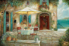 Vino Y Queso Fertig-Bild 55x70 Wandbild Dörfer Dorf Ruane Manning