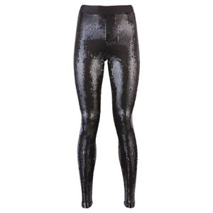 86bd6ace24676 BNWT Designer VILA Black Sequin Leggings Size 8 (S) LONG 33