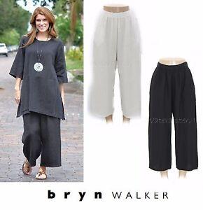 Bryn-Walker-Luce-Inondazione-di-Lino-Pantalone-Largo-Crop-Tasche-Pantaloni-1X-2X-3X-Nero-Bianco