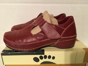 Exc-Pre-Owned-Womens-EU-40-US-9-9-5-Spring-Step-Endear-Leather-Mary-Jane-Red