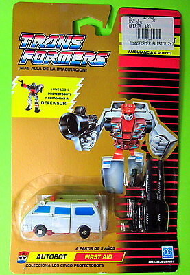 Hasbro Transformers G1 First Aid Autobots Protectobots 1990 New MOC Card Spanish