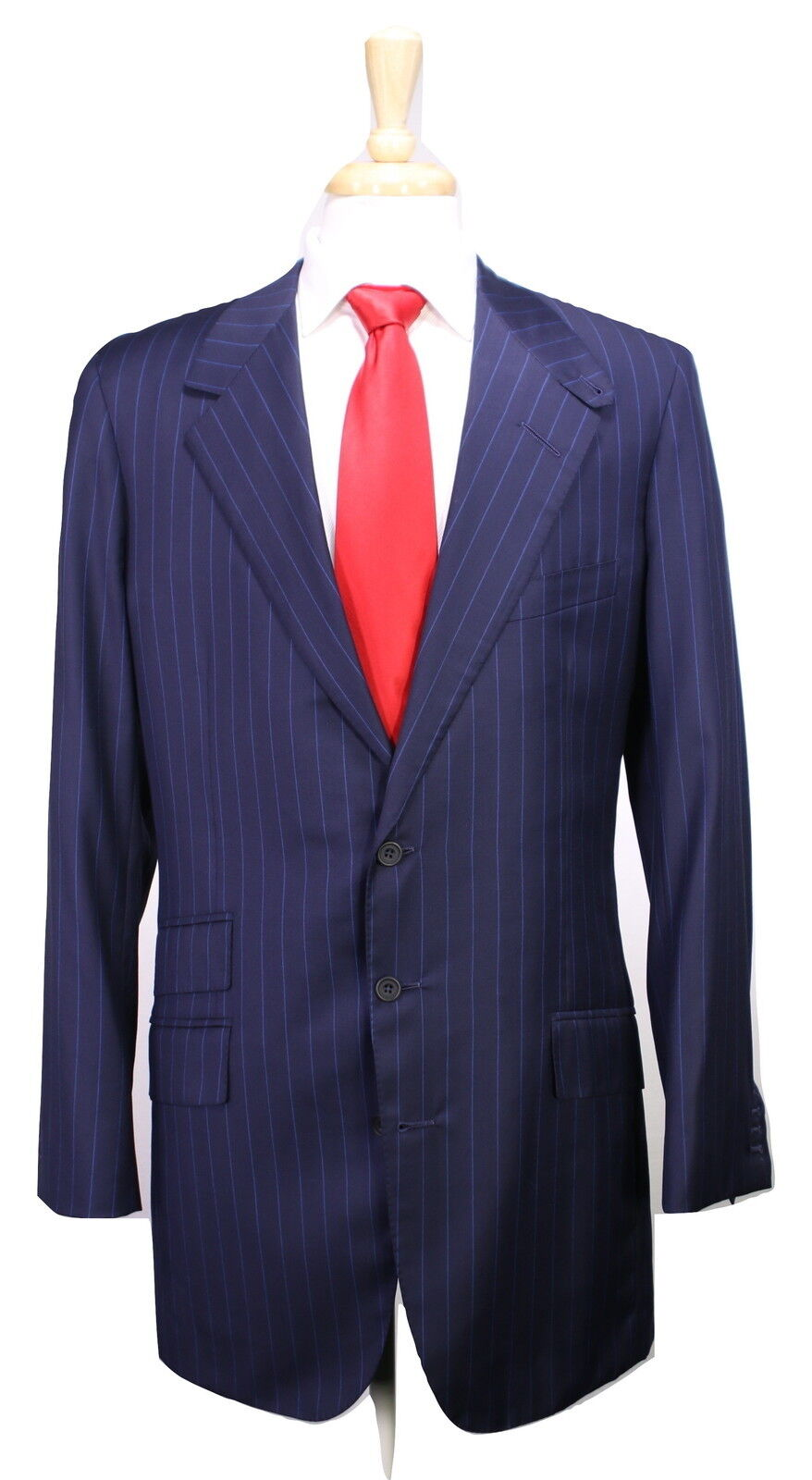 New   EDGAR POMEROY   Bespoke Navy w  Royal bluee Pinstripe 3Btn Suit 42XL