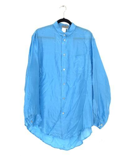 Yohji Yamamoto POUR HOMME ss1993 Men/'s Long-Sleeved blue silk shirt size M New
