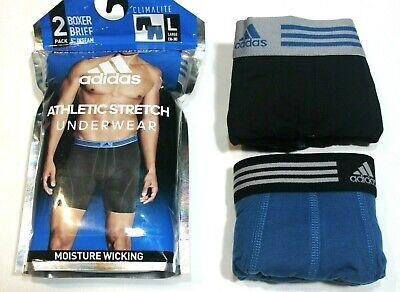 adidas Climalite Athletic Stretch 2-Pack Blue//Black Boxer Brief Underwear