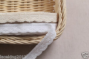 14Yds-Broderie-Anglaise-ribbon-cotton-eyelet-lace-trim-0-5-034-1-4cm-YH1490-laceking