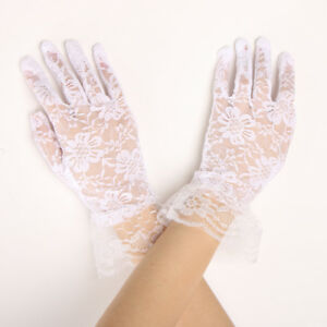bac2c2f2512 Ladies Girls Lace Short Full Bridal Gloves Party Prom Accessories ...